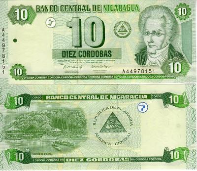 Nicaragua P-191 10 Cordobas Year 2002 Uncirculated Banknote